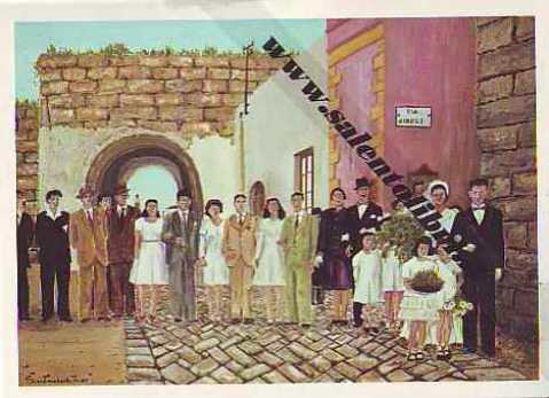 Immagine di CARTOLINA 11 X 16 QUADRO G. SCANDEREBECH - MATRIMONIO DI ZIA LUCE