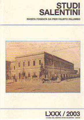 Immagine di Studi salentini. Letteratura nel Salento LXXX 2003