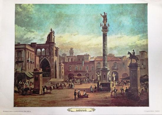 Immagine di LECCE - STAMPA - RAFFAELE CARELLI - LA PIAZZA DI LECCE - OLIO 1830