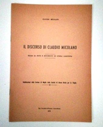 Immagine di IL DISCORSO DI CLAUDIO MICOLANO. ESTRATTO DA NOTE E DOCUMENTI DI STORIA SALENTINA